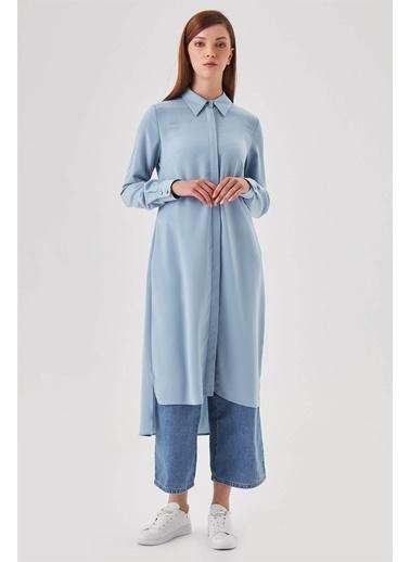 Vivencia Kol Manşetli Gömlek Yaka Krem Tunik Mavi